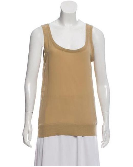 d3a51ede544ca MICHAEL Michael Kors - Natural Michael Kors Sleeveless Silk Top Khaki - Lyst  ...
