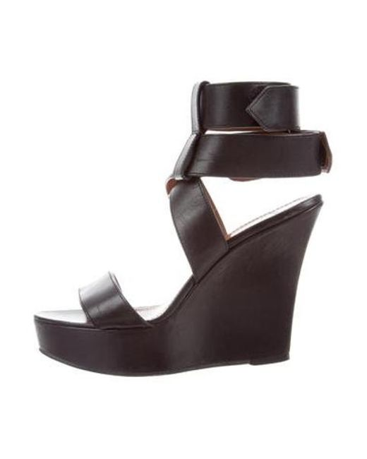 d3365aff4b01 Givenchy - Black Leather Platform Wedges - Lyst ...