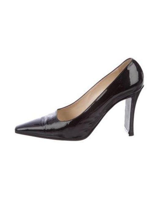 Chanel - Black Patent Leather Square-toe Pumps - Lyst