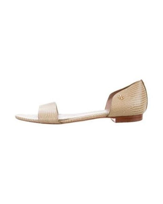8a089e70735 Tory Burch - Metallic Embossed Leather Flat Sandals Nude - Lyst ...