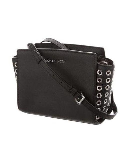 a8a5054ca9a7 ... MICHAEL Michael Kors - Metallic Michael Kors Small Leather Crossbody  Bag Black - Lyst ...