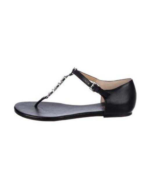 37afa706ab530 MICHAEL Michael Kors - Black Michael Kors Embellished Leather Sandals - Lyst  ...