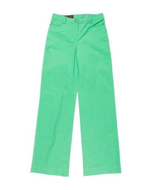 Loro Piana - Green Mid-rise Wide-leg Pants - Lyst