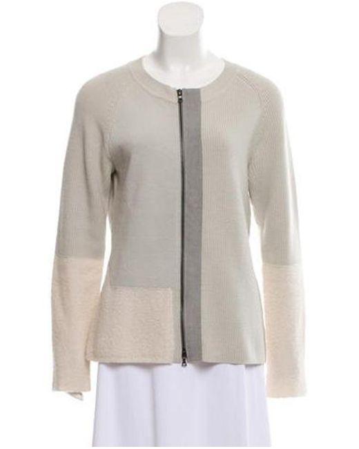 70f084d192 Narciso Rodriguez - Metallic Wool Zip-up Sweater Grey - Lyst ...