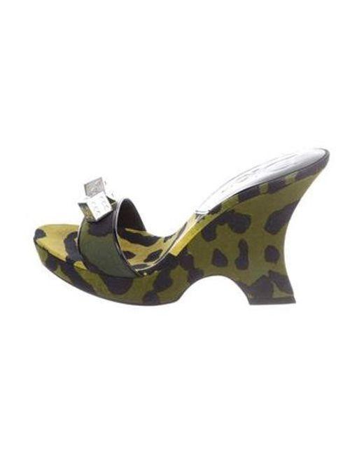 1d3af6af5b1 Dior - Metallic Printed Slide Sandals Green - Lyst ...