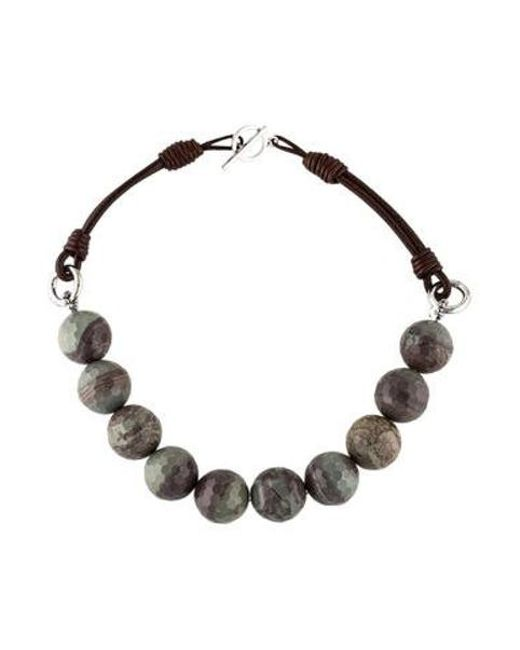 Brunello Cucinelli - Metallic Agate & Leather Bead Strand Necklace Silver - Lyst