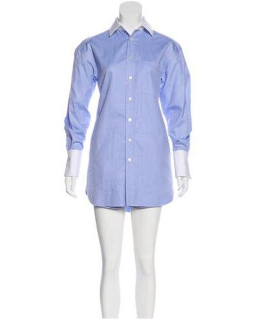 425a42c3239b Alexander Wang - Blue Long Sleeve Button-up Romper W  Tags - Lyst ...