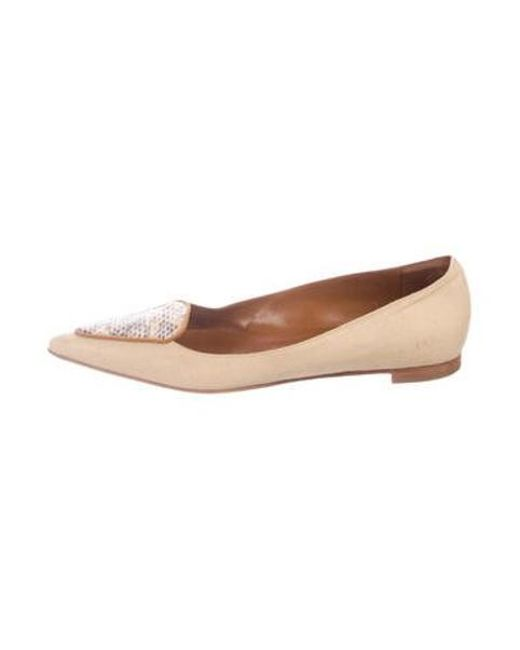 a86600452 Manolo Blahnik - Natural Pointed-toe Canvas Flats Tan - Lyst ...