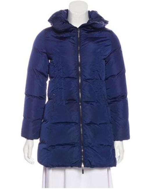 4ab1a8bc2 Lyst - Moncler Hooded Down Coat in Blue