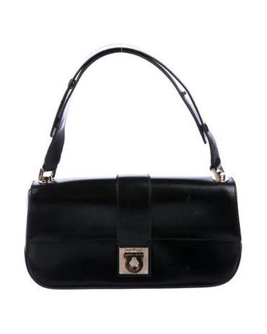 Ferragamo - Metallic Leather Gancio Shoulder Bag Black - Lyst ... 6ab3f43795