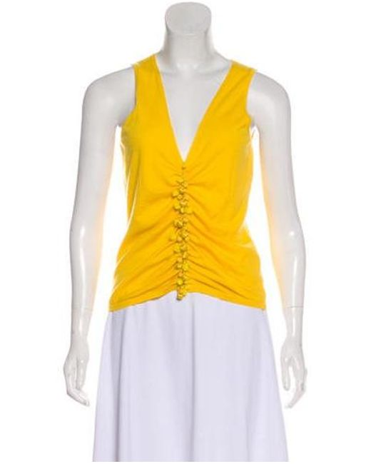 Naeem Khan - Yellow Cashmere Embellished Top - Lyst