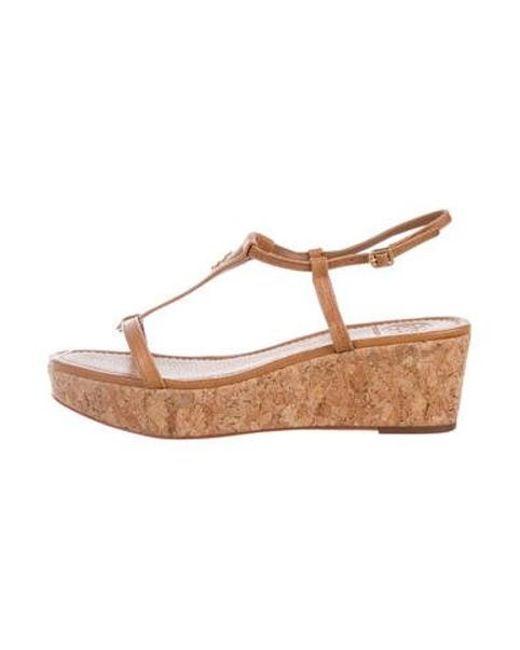 2b2b9daf0c4ff Tory Burch - Brown Leather Cork Sandals - Lyst ...
