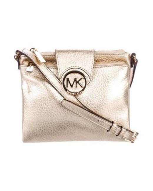 e24cccfbf2b3 MICHAEL Michael Kors - Metallic Michael Kors Leather Crossbody Bag Gold -  Lyst ...