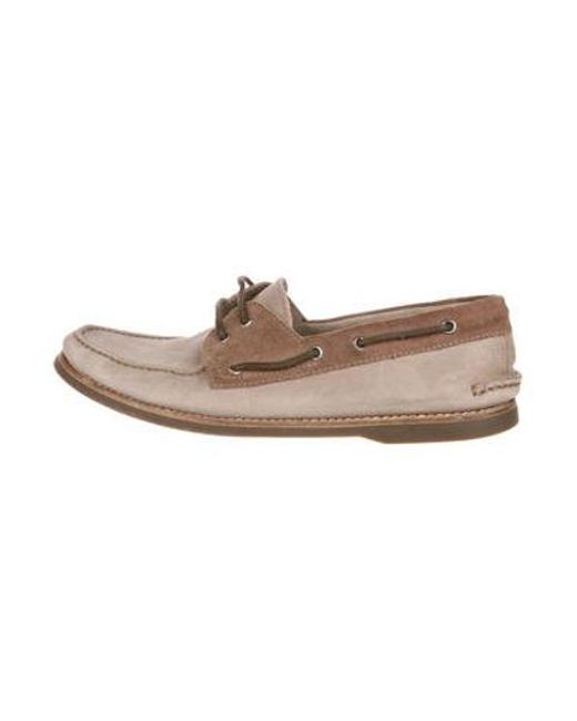 9cf04e92234 Brunello Cucinelli - Brown Suede Boat Shoes for Men - Lyst ...