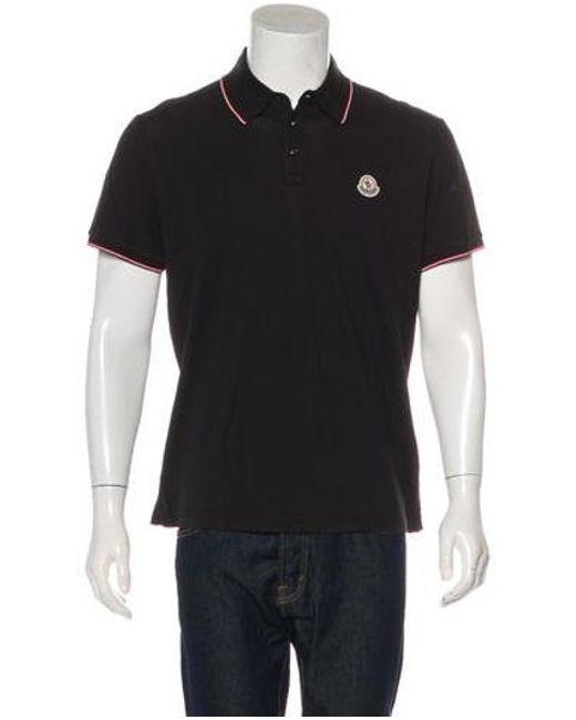 b0ce176dd2de Lyst - Moncler Button-up Polo Shirt in Black for Men