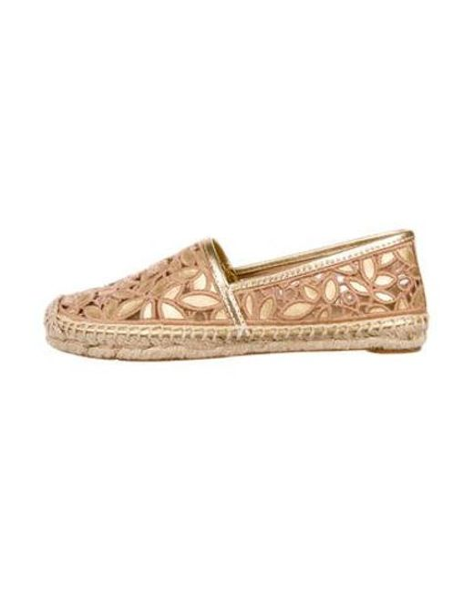 d71852beacb7 Tory Burch - Metallic Embroidered Logo Espadrilles Brown - Lyst ...
