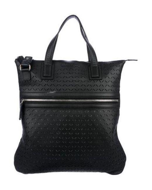 e27b56b733 Ferragamo - Metallic Leather Perforated Tote Black for Men - Lyst ...