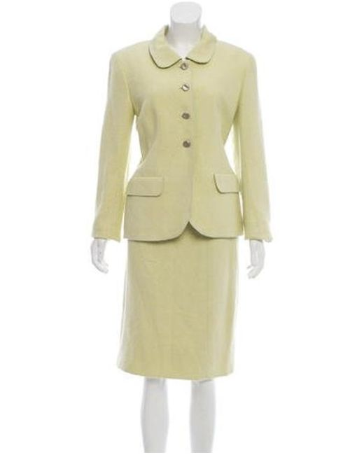 Chanel - Yellow Tweed Knee-length Skirt Suit Lime - Lyst
