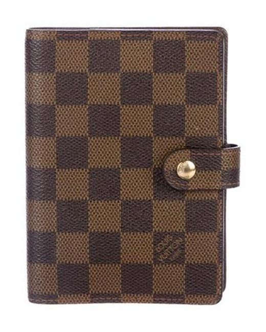 8954a1cfb1bf Louis Vuitton - Natural Damier Ebene Small Ring Agenda Cover Brown - Lyst  ...