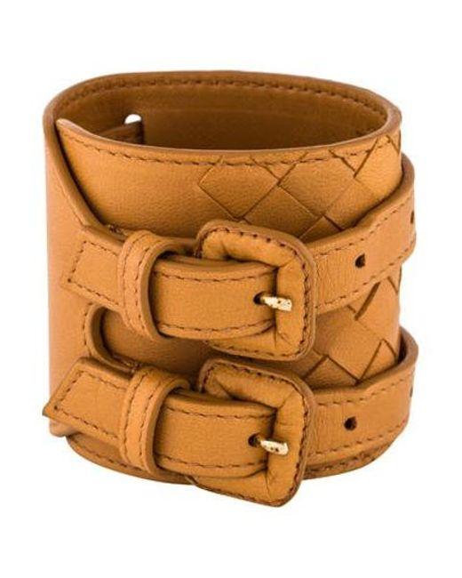 Bottega Veneta - Metallic Double Buckle Leather Wrap Bracelet Gold - Lyst