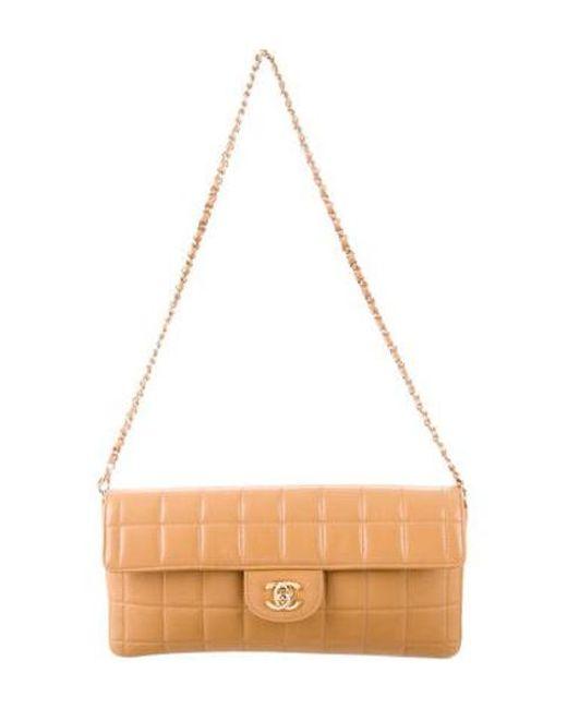 f0fff8497256 Chanel - Metallic Chocolate Bar E/w Flap Bag Tan - Lyst ...