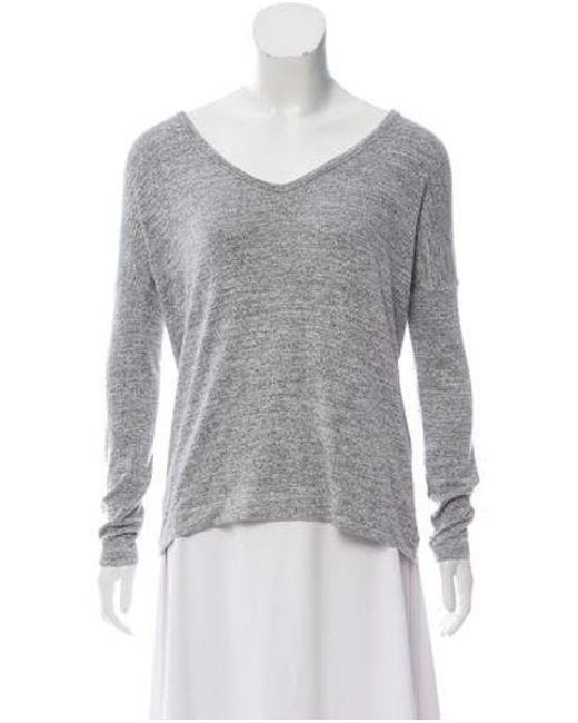 af47382b45e Rag   Bone - Gray Woven V-neck Sweater - Lyst ...