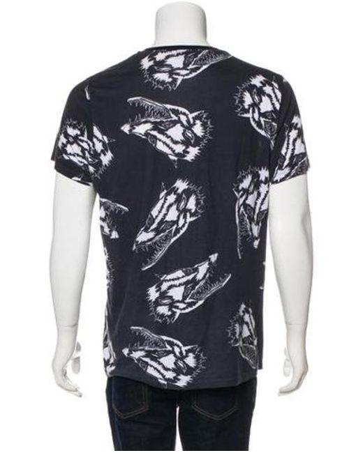 e808780a38a ... Lanvin - Blue Wolf Print T-shirt Navy for Men - Lyst