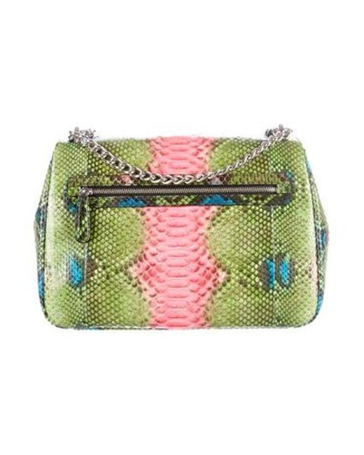 b01f21fe51b9 ... Dior - Metallic Miss Large Hand-painted Python Flap Green - Lyst