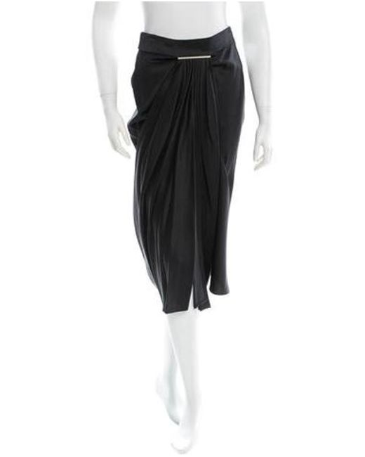 Jason Wu - Metallic Draped Satin Skirt W/ Tags Black - Lyst