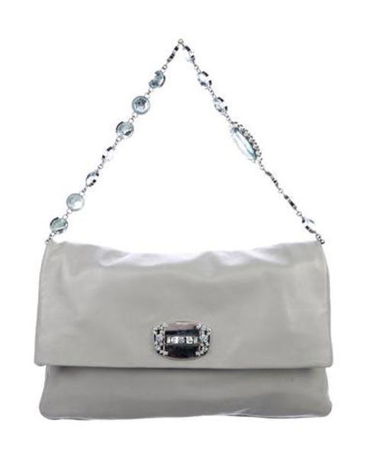 612f9597729 Miu Miu - Metallic Miu Embellished Evening Bag Grey - Lyst ...