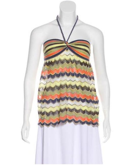 Lyst Missoni Striped Knit Halter Top W Tags Orange In Yellow