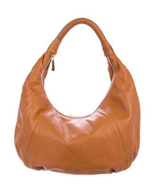 50702ef99d02 MICHAEL Michael Kors - Metallic Michael Kors Smooth Leather Hobo Gold - Lyst  ...