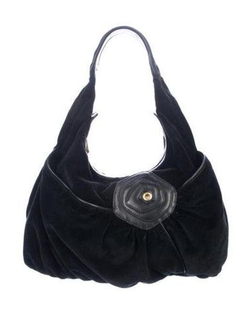 6d10a3dd3fe7 Marc Jacobs - Metallic Leather-trimmed Velvet Hobo Black - Lyst ...