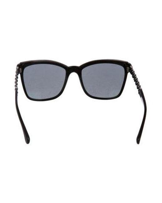 c9766bfcc70e ... Chanel - Black Bijoux Cat-eye Sunglasses - Lyst ...