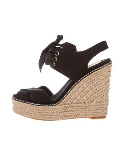 2520b0cf5f2 Tory Burch - Black Canvas Wedge Sandals - Lyst ...