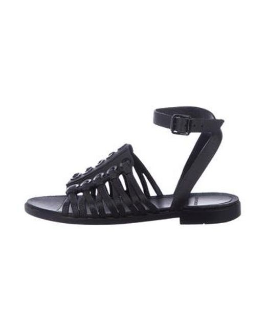 Givenchy - Black Multistrap Rubber Sandals - Lyst