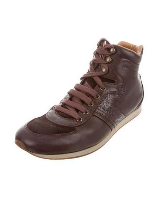 bb0aa6958e3fc ... Ferragamo - Brown Leather High-top Sneakers for Men - Lyst ...