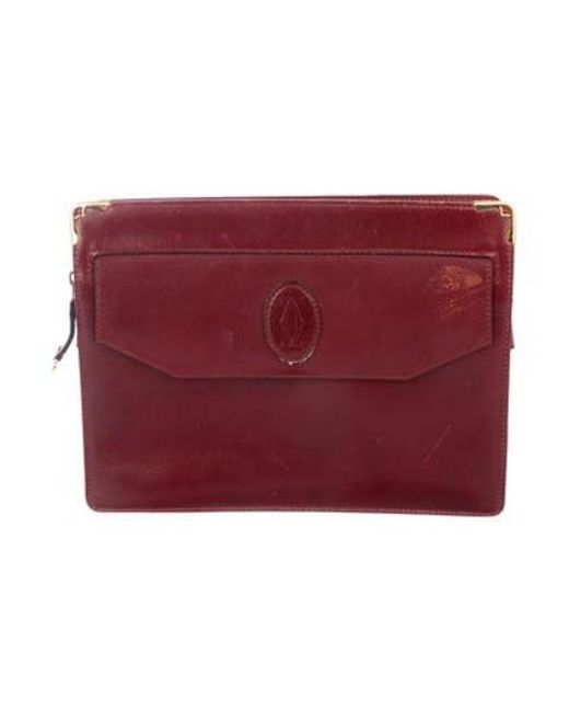 8f078009a45c Cartier - Metallic Leather Zip Clutch Red - Lyst ...