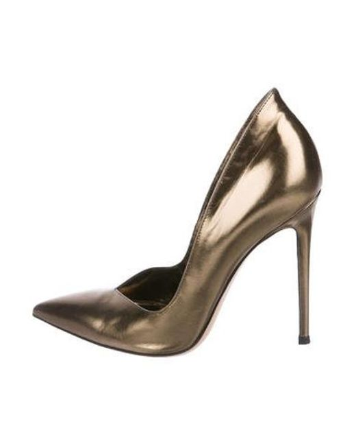 bf7eee1104b8c8 Gianvito Rossi - Metallic Pointed-toe Pumps Gold - Lyst ...