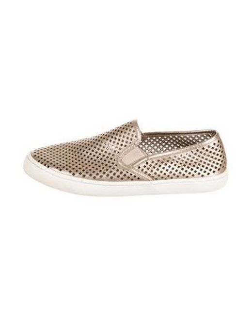 5182c81979f965 Tory Burch - Metallic Perforated Slip-on Sneakers Gold - Lyst ...