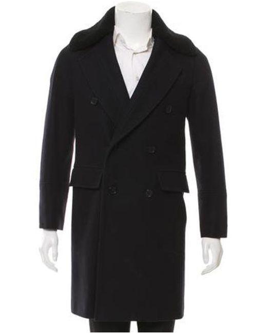 Sandro - Blue Cashmere-blend Button-up Coat Navy for Men - Lyst