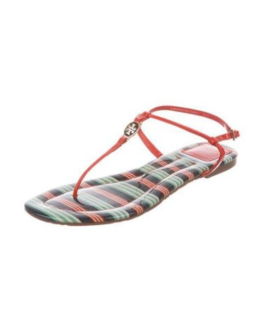0ab67ed9f39be8 ... Tory Burch - Metallic Emmy Thong Sandals Orange - Lyst ...