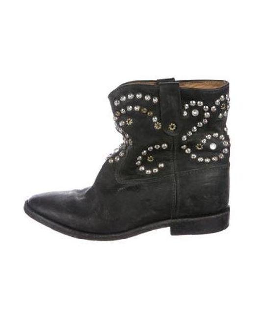 1c2aabfda0a6 Isabel Marant - Metallic Studded Wedge Booties Black - Lyst ...