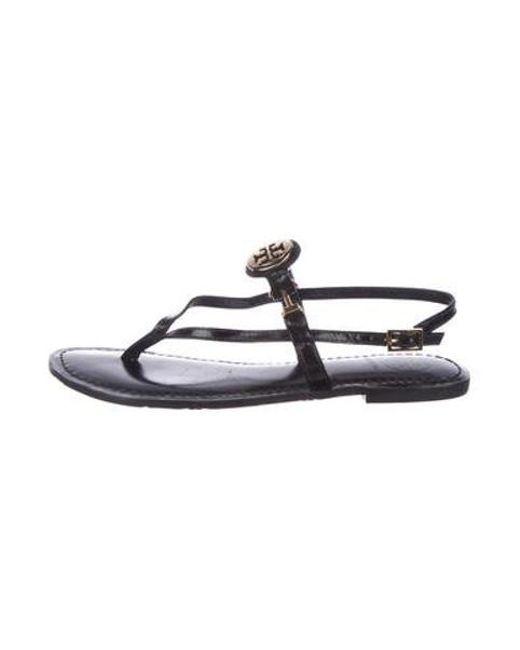 1f055d225b66f Tory Burch - Metallic Leather Logo Sandals Black - Lyst ...