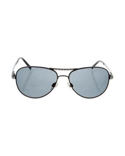 69d438247a7b Chanel - Black Embellished Aviator Sunglasses - Lyst ...