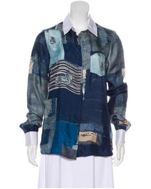 Altuzarra - Blue Silk Long Sleeve Top - Lyst