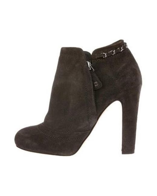 Chanel - Gray Embellished Suede Ankle Boots Grey - Lyst