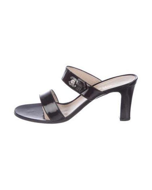 9d3280613c1f Chanel - Metallic Patent Leather Slide Sandals Black - Lyst ...