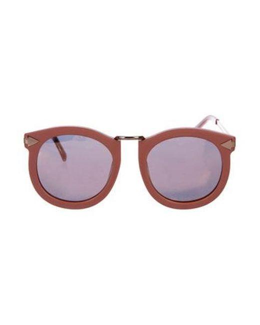 6152bc7ce6d Karen Walker - Metallic Super Lunar Mirrored Sunglasses Pink - Lyst ...