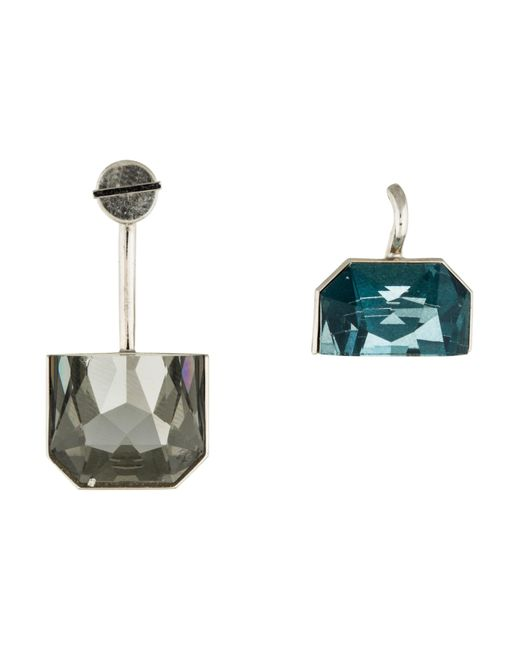 Dior | Metallic Crystal Set Earrings Silver | Lyst